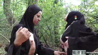 Two Naked Muslim Lesbians Wearing Hijab and Having Sex Outdoor